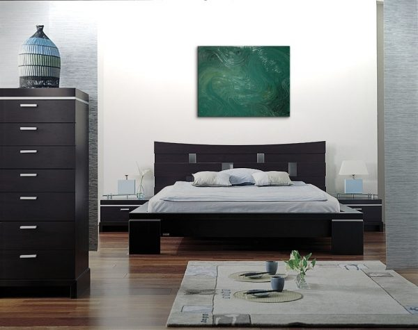Large Abstract Painting Green Textured Modern Urban Original Art Recycled Paint Bottle Glass Green Earth 40x30