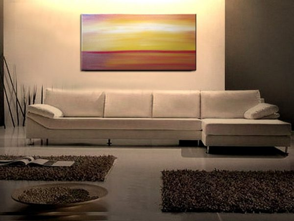 Large Abstract Seascape Sunset Yellow Orange Painting Calming Happy Seas Ships Immediately HUGE 48x24