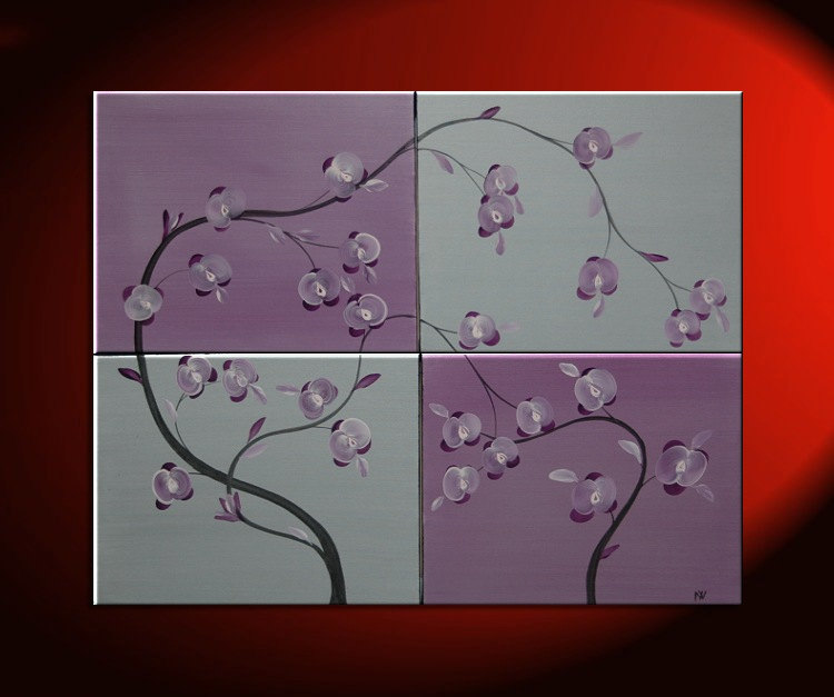 Large Acrylic Orchid Painting Huge Silver and Purple Lilac Delicate Elegant Original Art Four Stretched Canvases 40x32 Custom