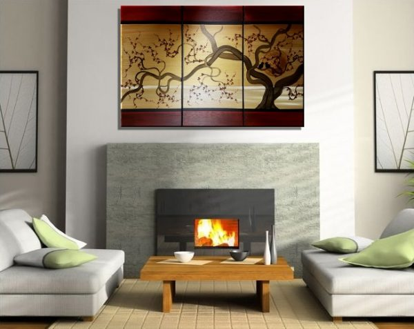 Large Acrylic Painting Love birds in Cherry Blossom Tree Burgundy Red and Gold Seascape Wall Decor 45x30 Custom