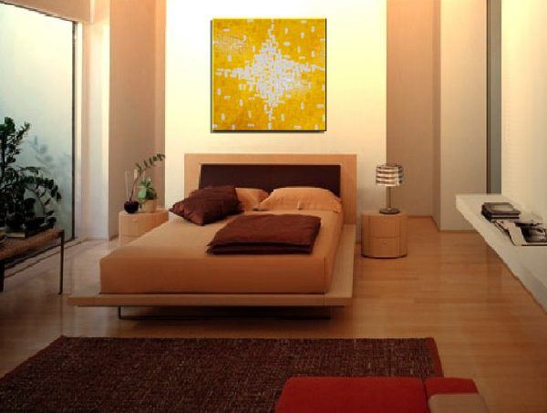 Large Acrylic Painting Sunny Yellow Textured Knife Painting Ready to mail out 30x30