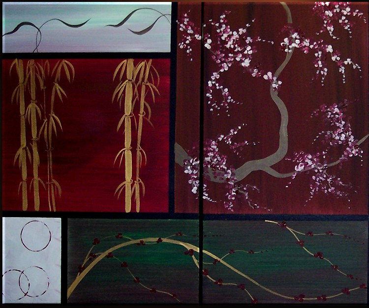 Large Asian Painting Chinese Zen Style Art Bamboo Wheat and Cherry Blossoms Deep Rich Burgundy Wine Green Grey Custom 72x36