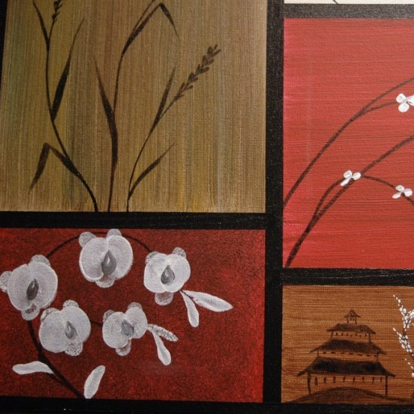 Large Asian Painting Chinese Zen Style Art Pagoda Cattails and Cherry Blossoms Deep Rich Red Brown Green Yellow Custom 60x16