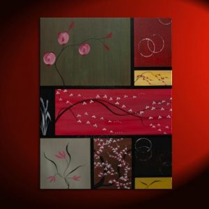 Large Asian Painting Zen Orchids Blossoms Wheat and Circles Warm Colors Original Art on Stretched Canvas Custom 36x48 Greens Reds Browns