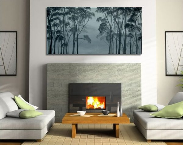 Large Aspen Tree Painting Black and White Greyscale Monochrome Art Calming Colors Modern Abstract Contemporary Original Realism Custom 48x24