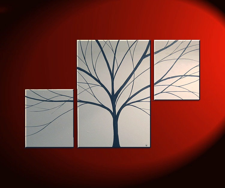 Large Asymmetrical Tree Painting White and Black Art Original Painting Textured Background Simple Custom triptych painting  56x36
