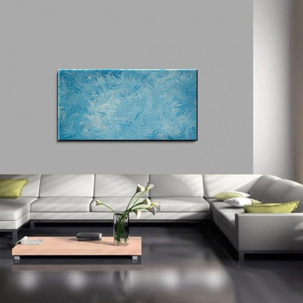 Large Blue Abstract Painting Textured Wall Art Original Home or Office Decor Squiggly Lines 48x24 CUSTOM