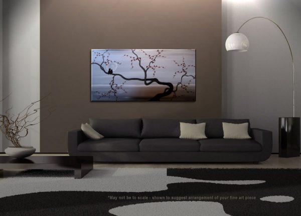 Large Cherry Blossom Love bird Painting Gray Elegant Original Calming Peaceful Art Monochrome 60x30