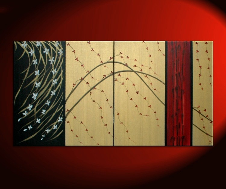 LARGE Cherry Blossom Painting Gold Red Black Abstract Modern Art Zen ...