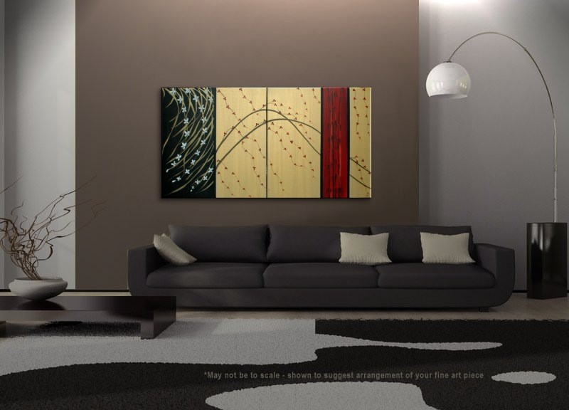 LARGE Cherry Blossom Painting Gold Red Black Abstract Modern Art Zen Asian  Calming Contemporary Wall Art