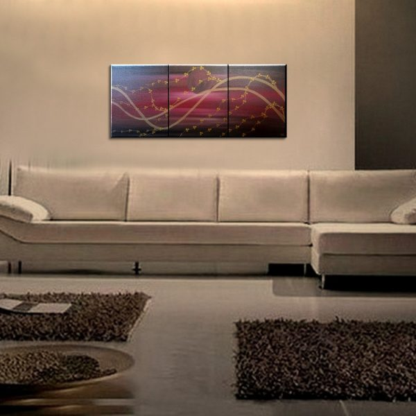 Large Cherry Blossom Painting Midnight Joyful Calming Orginal Art Black Deep Red and Gold Moon 48x20