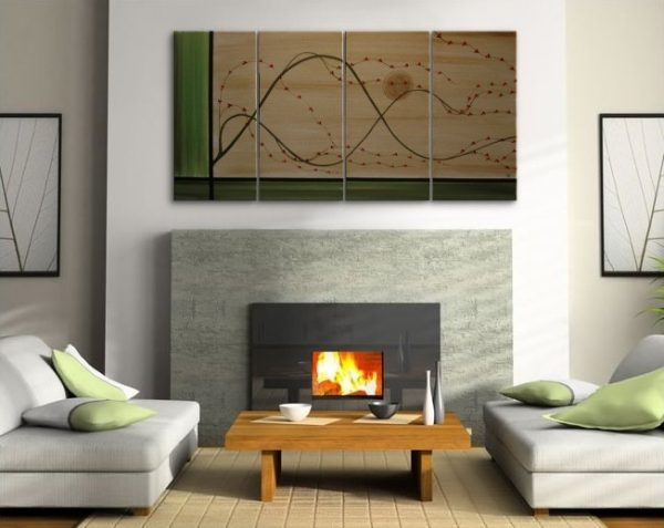 Large Cherry Blossom Painting Zen Green and Gold Abstract Asian Style Art Custom Multiple Canvases 60x30 HUGE custom