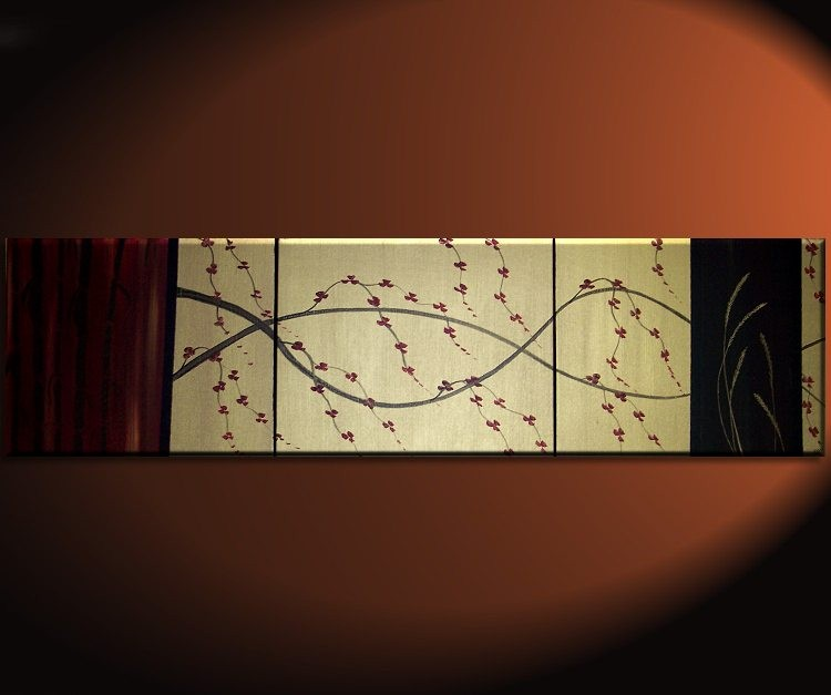 Large Cherry Blossom Wheat and Bamboo Asian Triptych Painting CUSTOM Red, Gold and Black Original Abstract Zen Fine Art 60x16