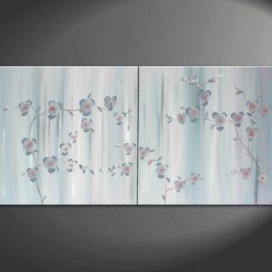 Large Delicate Japanese Orchid Painting Lilac Gray Elegant Original Calming Peaceful Grey Art Monochrome Custom 60x30