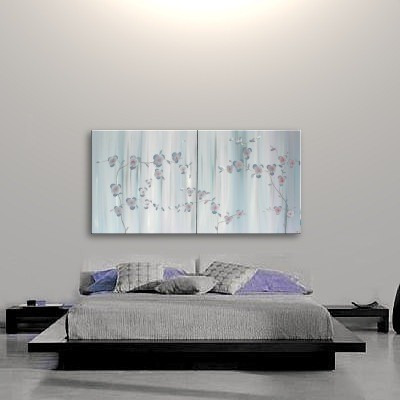 Large Delicate Japanese Orchid Painting Lilac Gray Elegant Original Calming Peaceful Grey Art Monochrome Custom 60x30