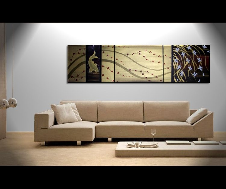 Large Gold and Black Painting Koi Fish, Orchids and Cherry Blossoms Chinese Zen Style Asian Fusion Original Art Custom 60x16