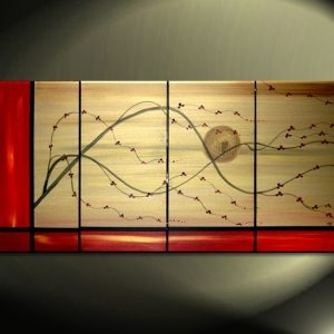 Large Gold and Red Chinese Painting Asian Fusion Cherry Blossom Art Multiple Canvases Happy Original Red Flowers Custom 60x30