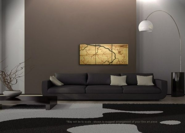 Large Gold Triptych Painting Original Art Plum Blossoms Red Flowers on Branch Original Asian Style Sunset CUSTOM 48x20
