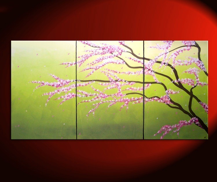 Large Green Abstract Cherry Blossom Painting Spring Greens and Lilac ...