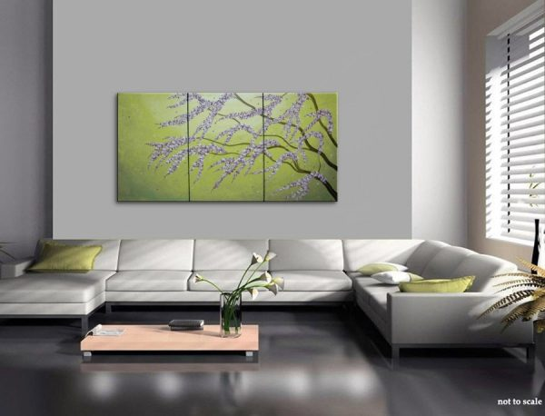 Large Green Abstract Cherry Blossom Painting Spring Greens and Lilac Flowers Fresh Zen Asian Calming and Peaceful Wall Art Custom HUGE 72x36