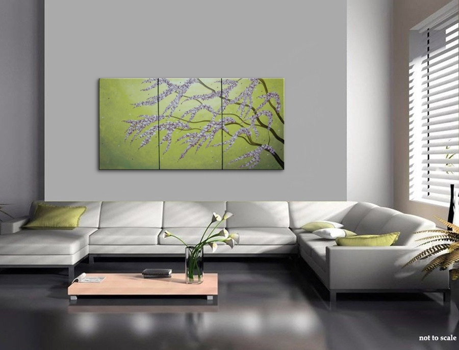 Large Green Abstract Cherry Blossom Painting Spring Greens and Lilac Flowers Fresh Zen Asian Calming and & Large Green Abstract Cherry Blossom Painting Spring Greens and Lilac ...