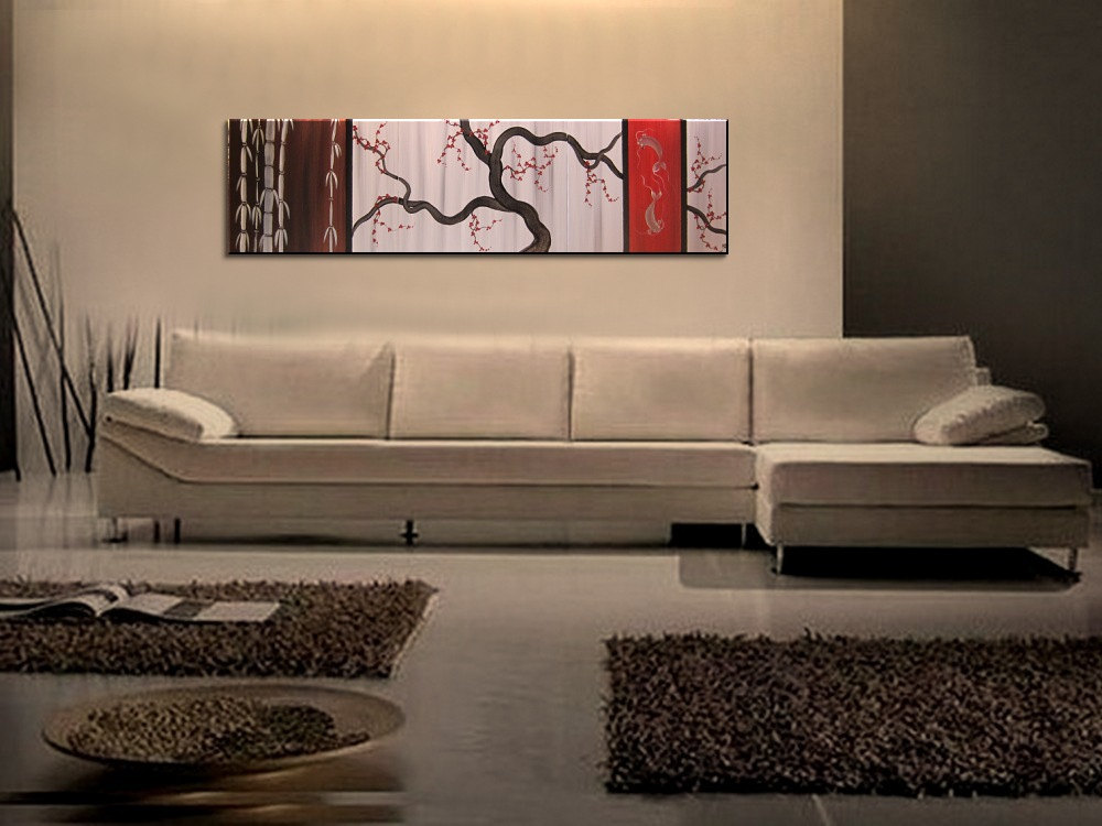 Large Koi Fish Painting Chocolate Brown Grey And Red Cherry Blossom Bamboo Original Abstract Asian