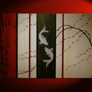Large Koi Fish Painting Deep Rich Red Cream and Black Chinese Zen Style Original Art Bamboo Cherry Blossoms Custom 45x30