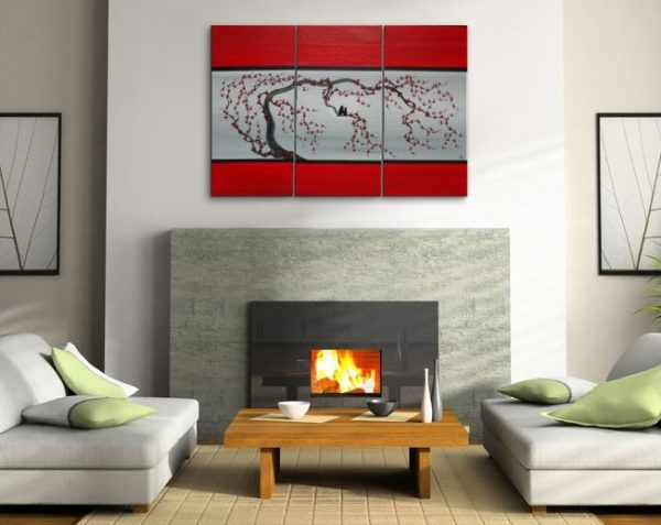 Large Love Bird Triptych Painting on Stretched Canvas Red and Grey Plum Blossom Lovebird Art Moon 45x30 Custom Chinese Zen Original Art