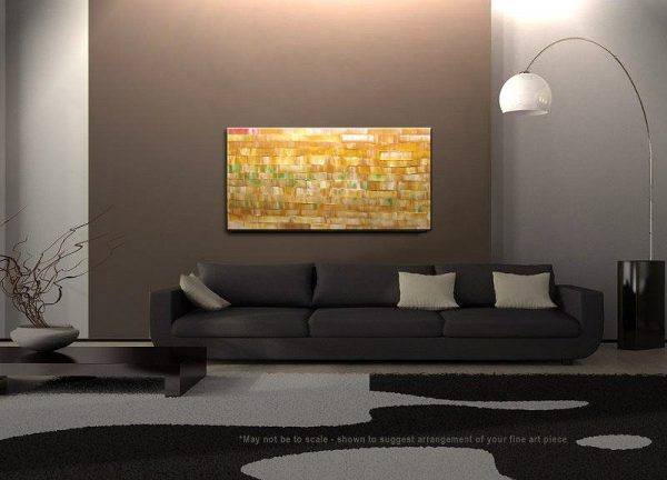 Large Modern Abstract Art Warm Colors Golden Browns, Ochre, Caramel, Yellow and Soft Greens 48x24 HUGE on Stretched Canvas CUSTOM