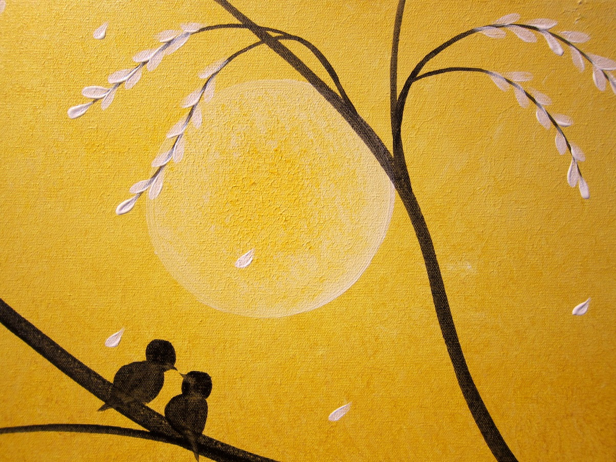 Large Original Painting Yellow Love Birds in a Blooming Tree ...