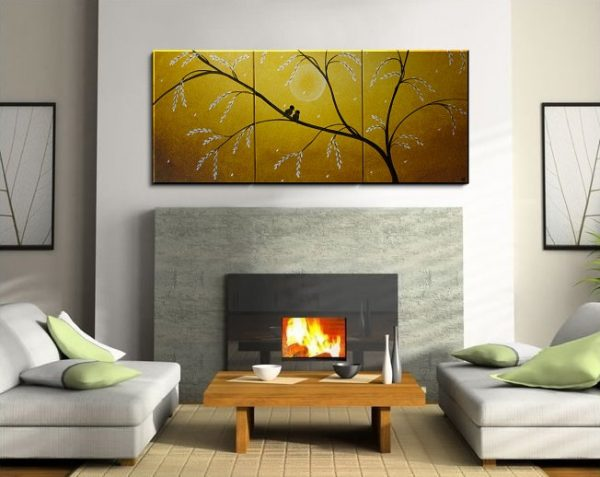 Large Original Painting Yellow Love Birds in a Blooming Tree Abstract Textured Art 48x20 Triptych ready to ship