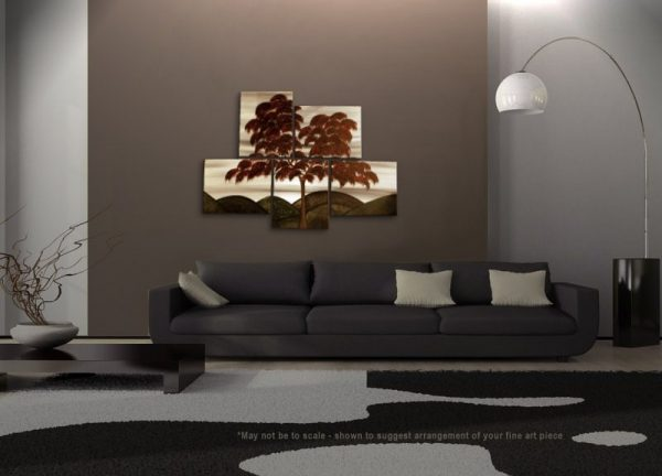 Large Original Tree Painting CUSTOM Modern Abstract HUGE Peaceful Art Autumn Fall Leaves Sepia Red Grey Green Goth Colors 56x40