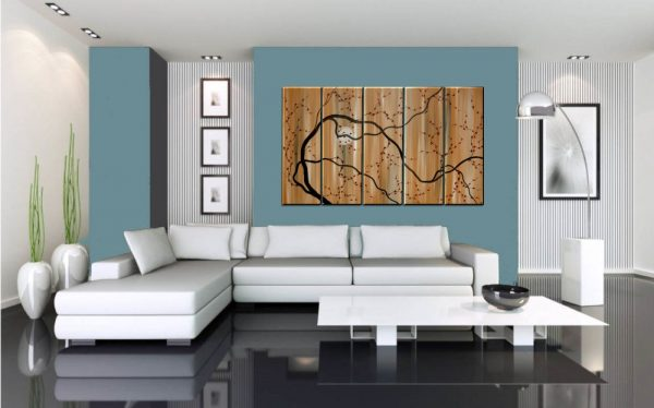 Large Painting Abstract Wall Art Caramel Brown and Red Plum Blossom Art Huge Oversized over Five Canvases Custom 60x36