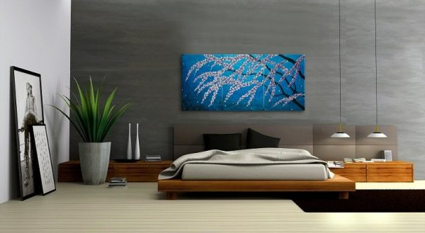 Large Painting Cherry Blossom Painting Vibrant Blues Purples Lilacs Fresh Zen Asian Style Calming and Peaceful Wall Art Custom 72x36