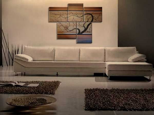 Large Painting Copper Browns and Gold Huge Contemporary Abstract Asian Fusion Plum Blossom Art Zen 56x40 Custom