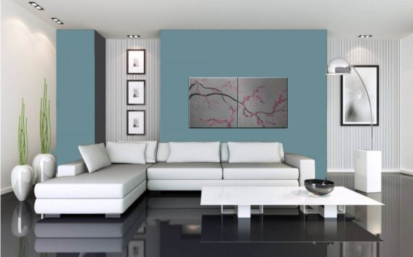 Large Painting Elegant Grey and Pink Wall Art Unique Urban Modern Abstract Artwork Ready To Ship 48x24