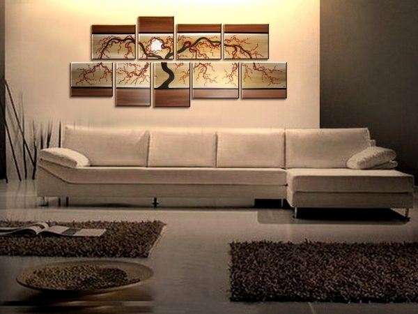 Large Painting Oversized Huge Abstract Tree Painting Modern Original Art Brown and Gold 8 Feet Wide Multiple Canvases Unique 96x41 Custom