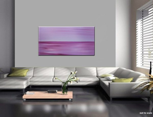 Large Purple Abstract Seascape Painting Blue Crimson Purple Sunrise Sunset Ships Immediately HUGE 48x24