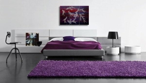 Large Purple Painting Tree Branches with Blossoms Triptych Multiple Canvases Original Art 45x30 'Happy Dreams' Custom