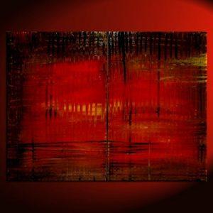 Large Red Abstract Painting Bold Modern Original Textured HUGE Urban Art Custom Version Big Wall Art Brown Yellow 48x36