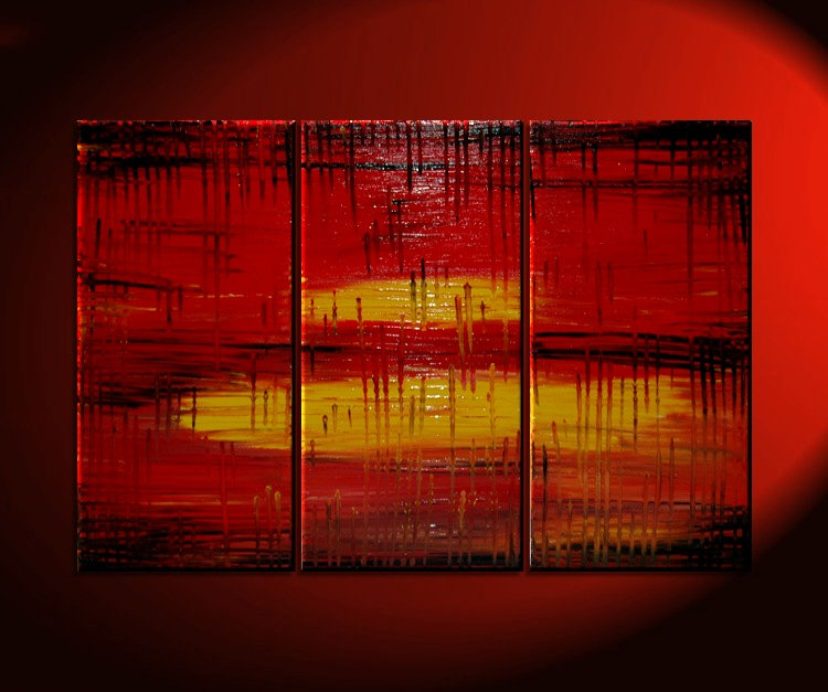 Large Red Abstract Painting Modern Contemporary Art Textured Impasto Original Bold Art Vibrant Urban Triptych Painting Custom 45x30
