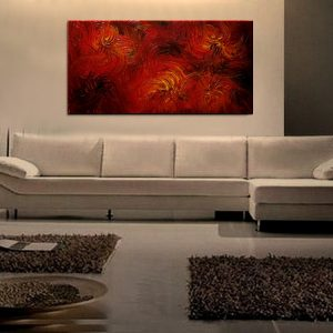 Large Red Abstract Painting Textured Wall Art Original Passionate Home or Office Decor Ready to ship 48x24