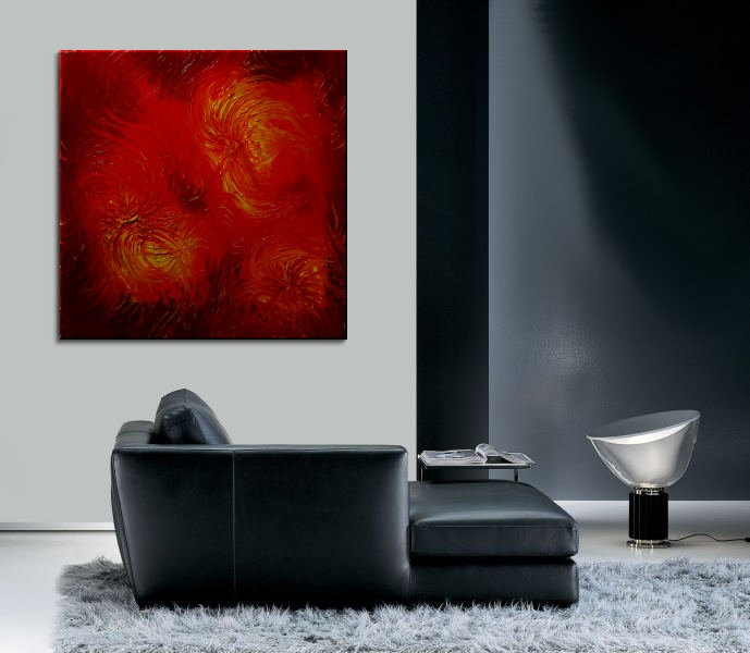 Large Red Abstract Painting Textured Wall Art Original Passionate Home or Office Decor Valentine 30x30 Custom