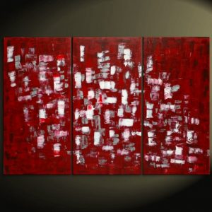 Large Red and White Abstract Art Textured Painting Palette Knife Impasto Triptych on Canvas 45x30 HUGE Customize the Colors