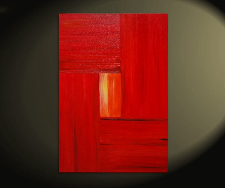 Large Red Modern Abstract Painting Urban Original Art on Stretched Canvas 24x36 on Michael: Tuesdays and Thursdays TV show Custom