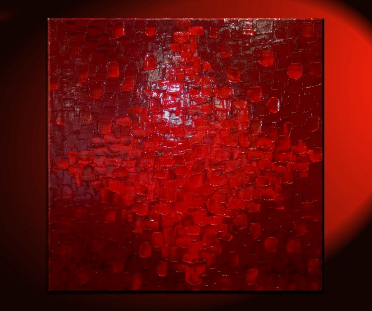 large red textured modern abstract painting urban original wall art on stretched canvas 30x30