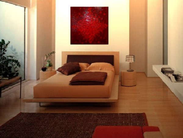 LARGE Red Textured Modern Abstract Painting Urban Original Wall Art on Stretched Canvas 30x30 Impasto