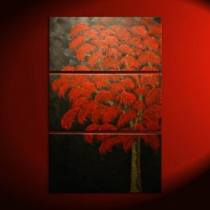Large Red Tree Painting over Three Canvases Custom Modern Art Zen Asian Style Original Art 30x45 Home Decor