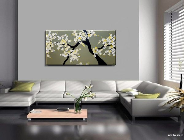 Large Textured Blossoms Painting Soft Gray Green Grayge Cherry Blossom Branch Impasto Heavy Texture 48x24 Mails Fast