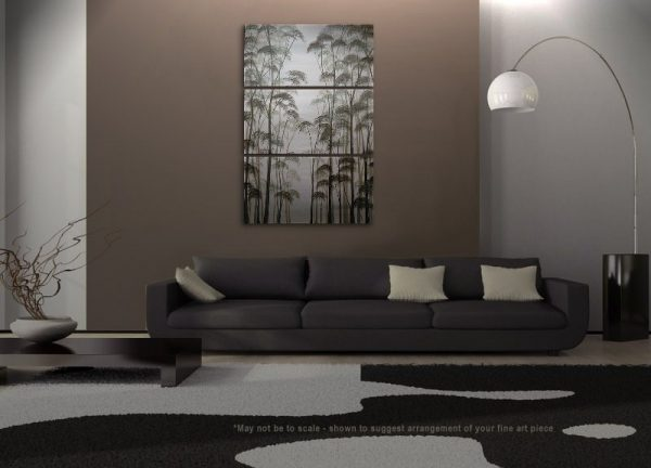 Large Tree Painting Black and White Art Aspens Zen Asian Style Calming and Peaceful Home Decor Custom 30x45
